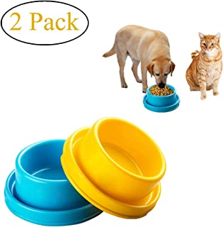 Cdycam 2pcs Dog Bowls Pet Cat Puppy Food Bowls Plastic Round No Spill Water Food Feeder Dish Colorful Feeding Eating Bowls