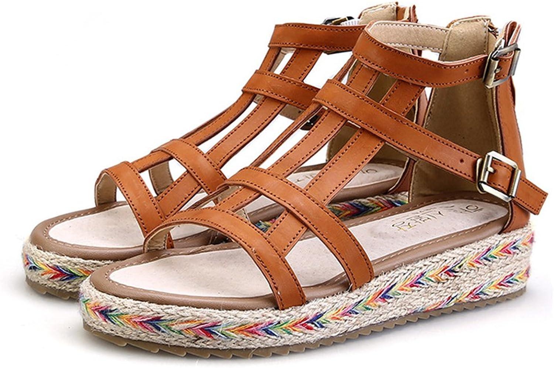 24XOmx55S99 Women's Fashion Open Toe Ankle Strap Buckle Platform Sandals