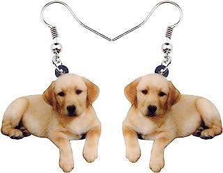 NEWEI Acrylic Sweet Labrador Retriever Dog Dangle Earrings Drop Animal Jewelry For Women Girl Gift Charm Accessories