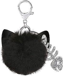 Moses Ed, The Cat Schlüsselanhänger | Puschel Anhänger mit Schlüsselring und Karabiner | Aus Kunstfell Llavero 10 Centimeters Negro (Schwarz)