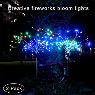 Outdoor Solar Garden Decorative Lights,Gorgeous 8Modes LED Solar Powered Landscape Lights,DIY Flowers Fireworks Jellyfishs for Walkway Pathway Patio Lawn Backyard Christmas Decoration New-2Pack