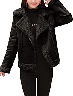 Women's Winter Sherpa Lined Faux Suede Leather Moto Jacket Coats