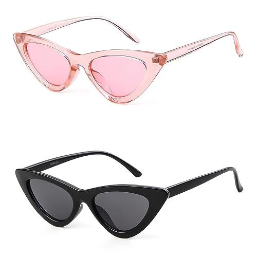 5b4e2314317b1 Gifiore Retro Vintage Cateye Sunglasses for Women Clout Goggles Plastic  Frame Glasses