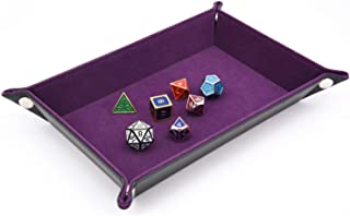 SIUONI Dice Holder PU Leather Folding Rectangle Tray w/Purple Velvet for RPG DND and Other Table Games Jewelry Tray Bedside Tray Key Phone Coin Change Stroage Tray Box