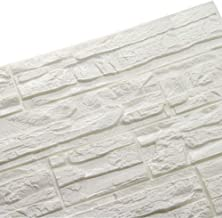 LEISU 3D Ladrillo Pegatina Pared Autoadhesivo Panel Pared Impermeable 3D DIY Wall Stickers Moderno Blanco Decorativo pare Cocina, baño, dormitorio, oficina, fondo TV 60 * 60CM (36pcs, blanco)