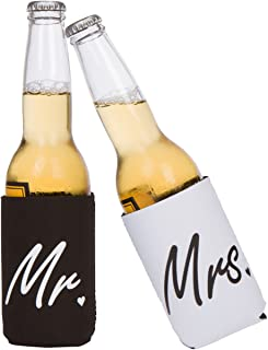 Cute Can Cooler Sets - Wedding Gift - Anniversary Gift - Engagement Gift (Black/White - Mr and Mrs)