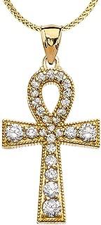 Diamond 14k Yellow Gold Ankh Cross Pendant Necklace