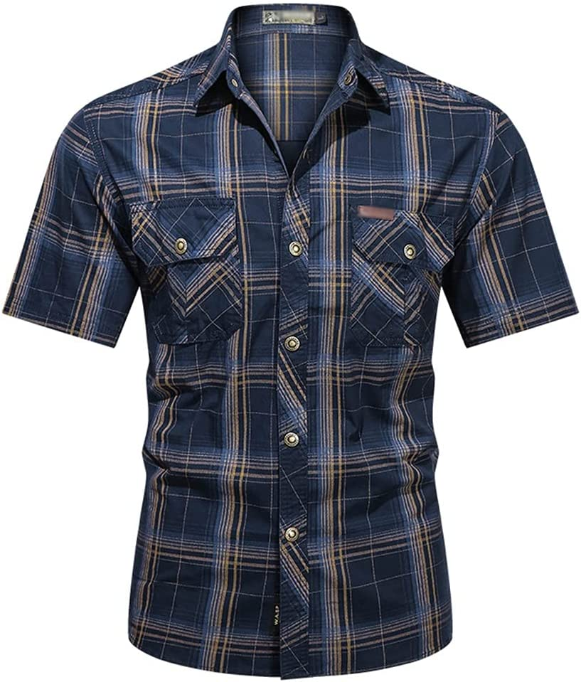 SLATIOM Men Shirts Casual Gingham Collar Purchase Turn-Down Co specialty shop