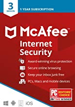 McAfee Internet Security, 3 Device, Antivirus Software, Password Manager, 1 Year Subscription- [Key card]- 2020 Ready
