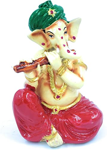 Sushil Steels Polyresin God Ganesh with Musical Instrument Flute in Hand Decorative showpiece Multicolor 6X3 5 inch