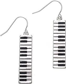 PammyJ Silvertone Piano Keyboard Dangle Earrings