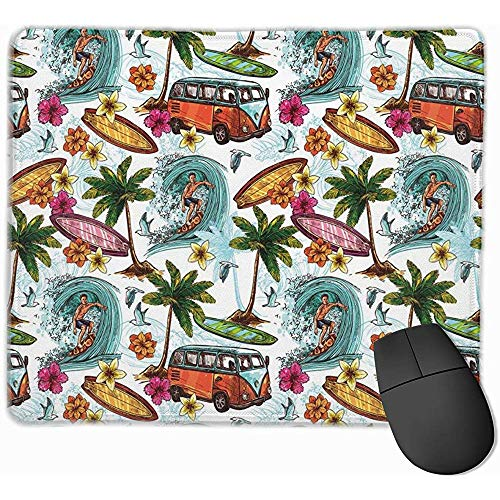 Mausepad Hawaiian Surfer Sea Palm Trees Retro Dekorative Mousepad Mat Gummibasis Home Decor Für Office Laptop Computer Home Gaming Mouse Pad
