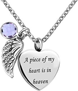 Sug Jasmin Jan-Dec Birthstone Angel Wings Heart Cremation Urn Necklace for Memorial Jewelry A Piece of My Heart is in Heaven Ashes Pendant with Fill Kit