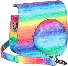 Cpano Mini Leather Camera Case Bag for Fujifilm Instax Mini 8 8  Instant Film Camera with Adjustable Shoulder Strap   Rainbow