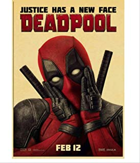 NOBRAND HD Justice League Deadpool Movie Poster Vintage Style Pintura Decorativa Poster Frameless Art Decor 40X60Cm Sin Marco