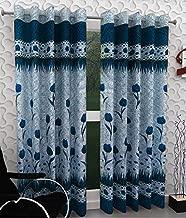 Homefab India Set of 2 Rose Blue Door Curtain - 7 ft