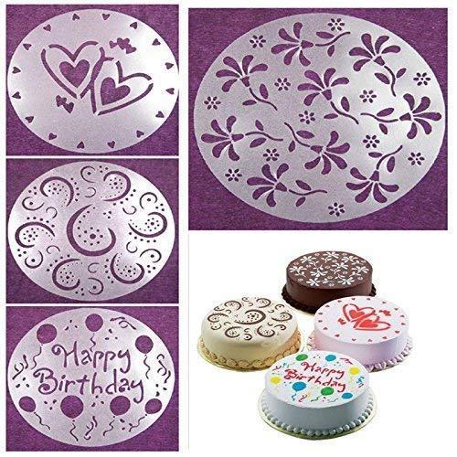 Dekorschablonen, Motiv: Blumen, Herzen, Geburtstag, zum Dekorieren von Kuchen, Tiramisu etc, Backzubehör - 4 Stück