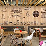 Milk Tea Cake Shop Coffee Shop Restaurant Wall Cover_Retro Wood Grain Mural Bakery Cake Shop Coffee Shop Restaurant papel pintado a papel pintado pared dormitorio autoadhesivo-350cm×256cm