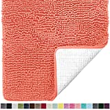 Gorilla Grip Original Luxury Chenille Bathroom Rug Mat, 24x17, Extra Soft and Absorbent Shaggy Rugs, Machine Wash Dry, Perfect Plush Carpet Mats for Tub, Shower, and Bath Room, Coral