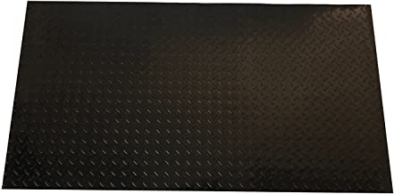 Resilia - Black Plastic Floor Runner/Protector - Embossed Diamond Plate Pattern, (27 Inches Wide x 6 Feet Long)