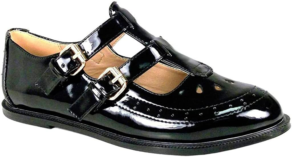 New Womens Ladies Girls Flat Buckle T-BAR Cut Out Mary Jane Retro Geek School Brogues Shoes Size 3 4 5 6 7 8