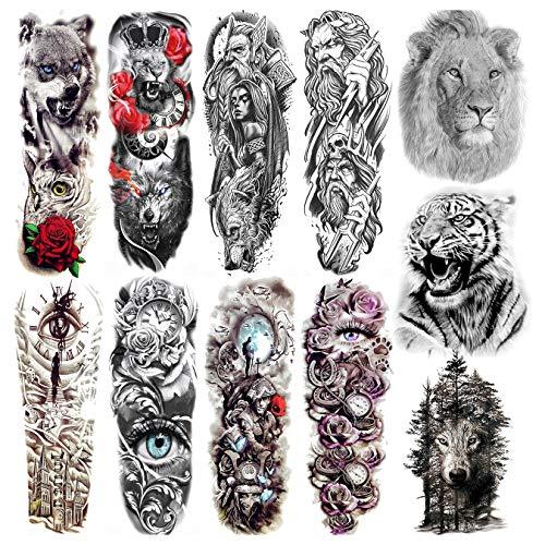 Coktak 11 Fogli Full Size Tatuaggi Temporanei Adulti Uomo Manica Braccio Completo Guerriero Adesivi Tatuaggi Finti Maori Rosa Lupo Leone Tigre Grandi Tatuaggio Temporaneo Donna Gamba Animali Sleeve