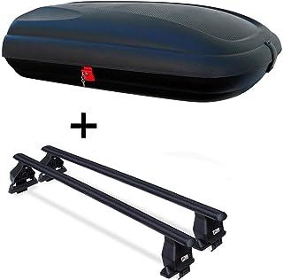 Dachbox VDPCA320 320Ltr carbonlook + Dachträger Menabo Tema kompatibel mit Hyundai I30 (Steilheck 5 Türer) 2011 2015 Stahl