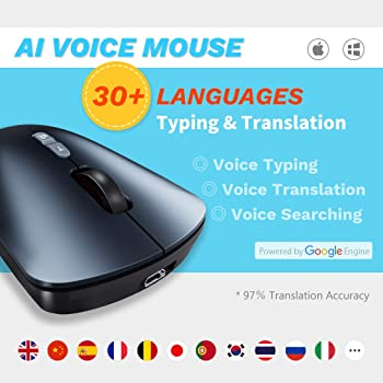 BINGFEI New Generation Artificial Intelligence Wireless AI Voice Mouse Supports Voice Input Typing Search Translation Function,Black