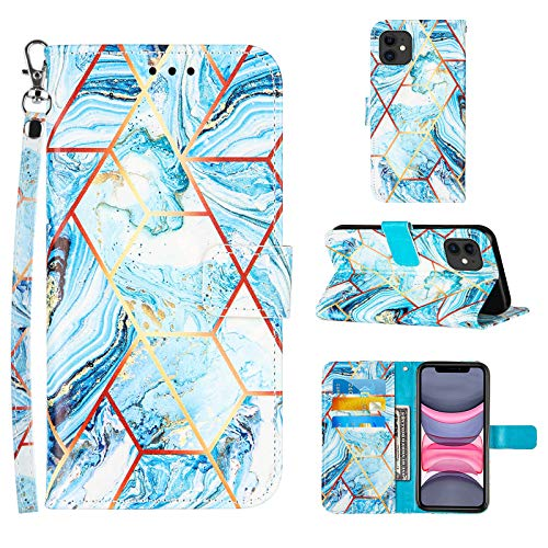 Compatible for iPhone 11 Wallet Case,[Stand Feature][Wrist Strap][Credit Cards Holder] 2021 New Marble Pattern Premium PU Leather Flip Protective Cover for iPhone 11 Phone Cases (Blue)