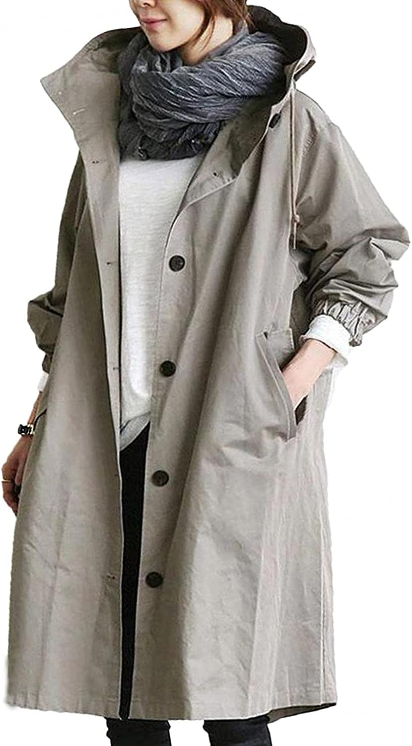 LEIYAN Womens Water-Resistant Hooded Trench Coat Lightweight Long Sleeve Loose Casual Single Breasted Windbreaker Jackets