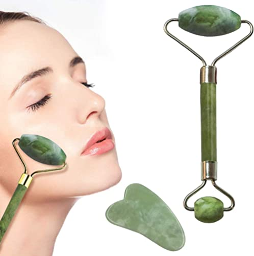 ORILEY OR-JTZM-5 Natural Jade Double Sided Face Roller & Gua Sha Scraping Facial Massager Massage Stone Beauty Tool f...
