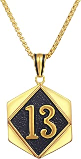 Stainless Steel Lucky Number 13 Big Number with Hammered Background Good Luck Jewelry Gift