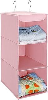[Amazonブランド] Umi.(ウミ) 吊り下げ収納 衣類ラック 3段 折り畳み 不織布製 クローゼット 取り付け簡単 フック2個付 (ピンク)