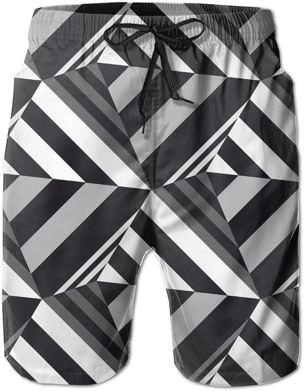 PengYou 3D White&Black Strip Triangle Men's Summer Beach Shorts Surfing Pants Trunks Swimwear