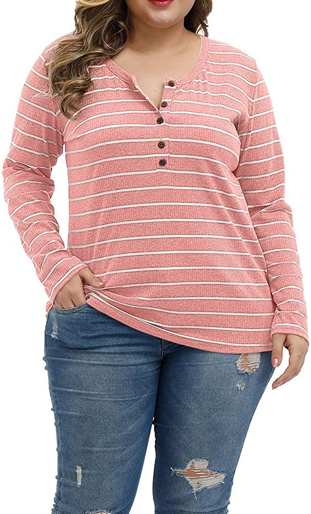 ALLEGRACE Women Plus Size Tops Long Sleeve Knitwear Stripe Clothing Casual Polo Shirts Button Up Blouse