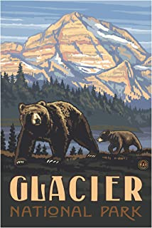 Glacier National Park Rockies Grizzly Bears Travel Art Print Poster by Paul A. Lanquist (24
