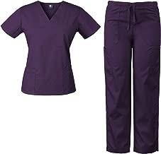 Medgear Womens Scrubs Set Medical Uniform – 4 Pocket Top & Multi-Pocket Pants