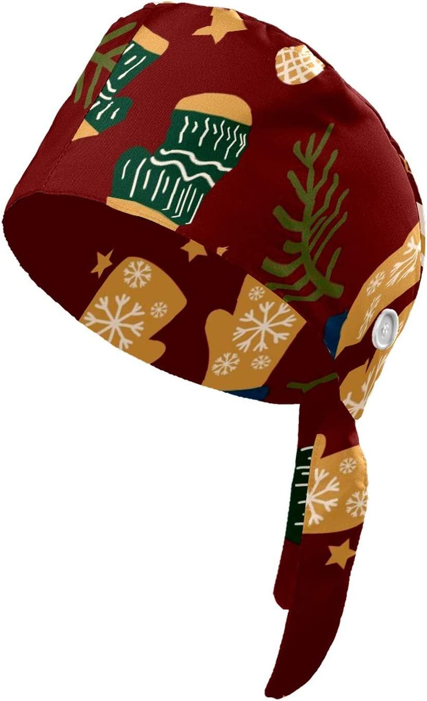 QHY Printed Working Cap with Sweatband Adjustable Tie Back Hats