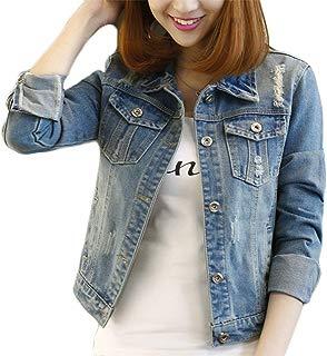 Fesky Long Sleeve Denim Jacket Ripped Jean Jacket Boyfriend Coat for Women