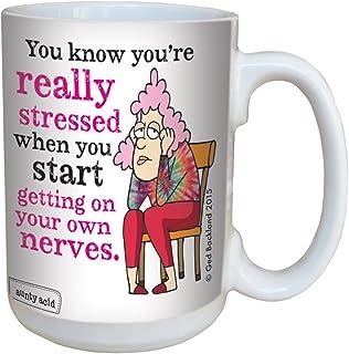 Tree-Free Greetings 15-Ounce Ceramic Mug with Full-Sized Handle, Aunty Acid Really Stressed