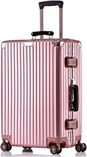 GLJJQMY Scratch-Resistant Aluminum Frame Suitcase Rotary Wheel Trolley Case 20/24/26/29 Inch Boarding Case Trolley case (Color : Pink, Size : 29inch)