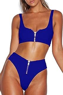 zipper thong bikini