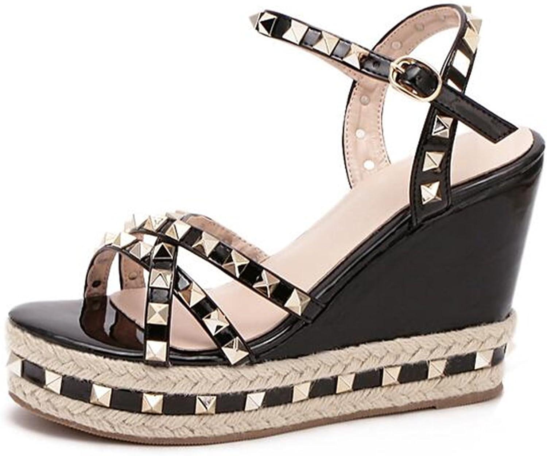 MAKEGSI Rivet Jute-rope Middle Wedge Heel Summer Womens shoes Flip Sandals