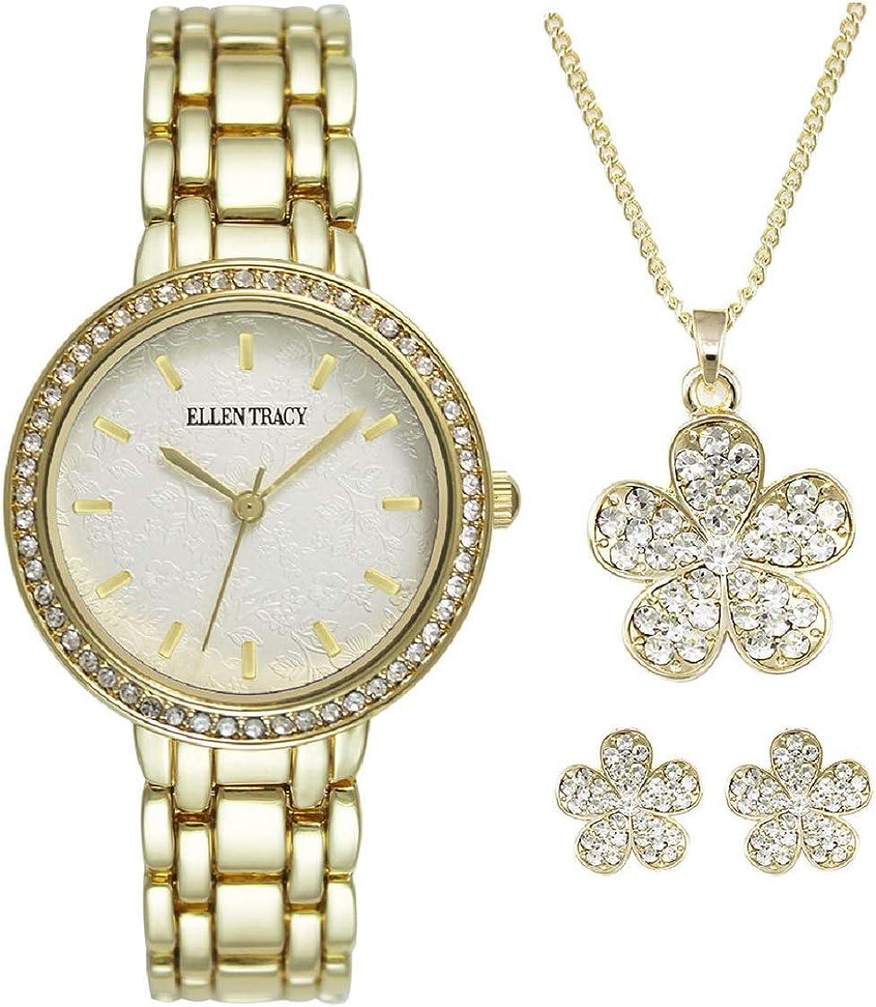 Ellen Tracy Womens Watch Necklace Flow Set Featuring quality Las Vegas Mall assurance Earrings