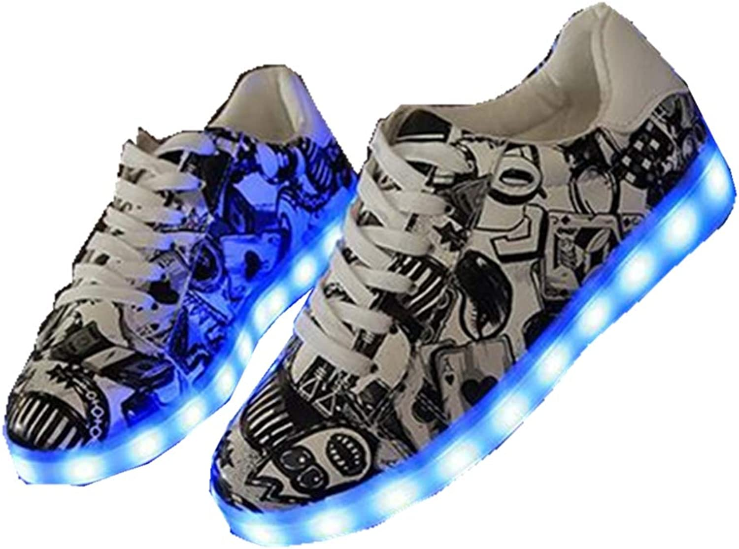 LUOBM Female Low Help LED Fluorescent shoes White Style Couple shoes Ghost Dance shoes