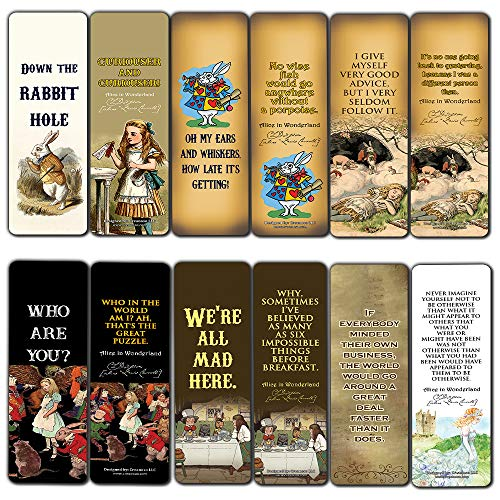 Vintage Alice in Wonderland Bookmarks Cards Series 1 (60-Pack) - Down The Rabbit Hole Curiouser - Stocking Stuffers for Her, Girls, Kids - Birthday Mad Hatter Tea Party Supplies