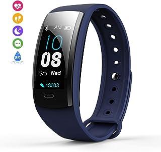 Grist CC Montre connectée Femmes Homme Tracker dActivité Etanche IP67 Bracelet Cardiofréquencemètres(Bleu