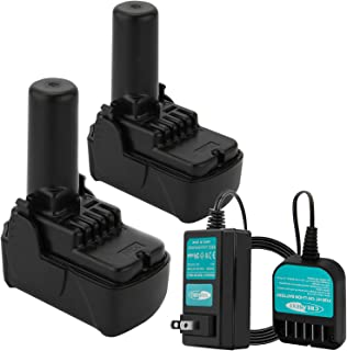 Creabest 2Pack 10.8V-12V 3000mAh Lithium Ion Battery Compatible with Hitachi Cordless Power Drill Tools BCL1015 BCL1015S 331065 329370 and Include One Charger