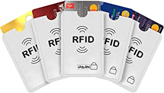 iParn RFID Sleeves Credit Card Sleeve,Credit Card Protector Sleeves Blocks Credit Cards Transfer of Pickpocketing – White RFID Credit/Debit Card Sleeves-5 Pcs