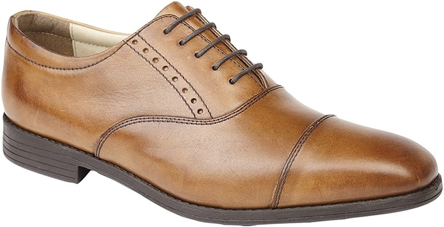 Mens Leather Oxford Capped Hi Shine Lace Up Smart Office Dress Formal shoes Size 7-12
